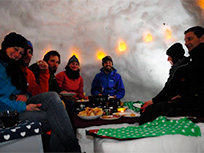 Igloo fondue and full moon walk